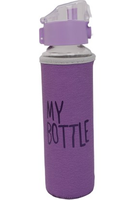 My Bottle Deri Kılıflı Cam Matara 480 ml Mor