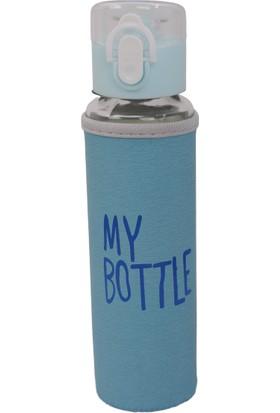 My Bottle Deri Kılıflı Cam Matara 480 ml Mavi