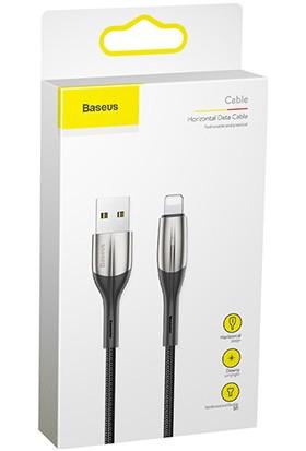 Baseus Horizontal Data Kablosu(Işıklı)USB For iP 2.4A 0.5M Siyah CALSP-A01