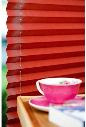 Erikmann Cam Balkon Perdesi Yapıştırmalı Plise Perde Antrasit Profil Kırmızı Kumaş 45 x 178 cm