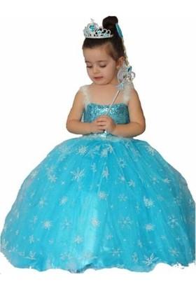 DuhaTeks Frozen Elsa Kostümü Simli