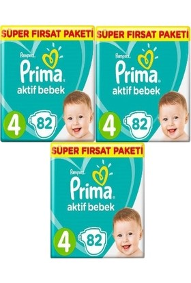 Prima Bebek Bezi Aktif Bebek 4 Beden 82 x 3 Pk 246 Adet