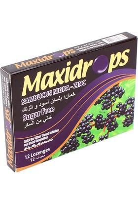 Maxidrops Kara Mürver ve Çinko Şekersiz Boğaz Pastili