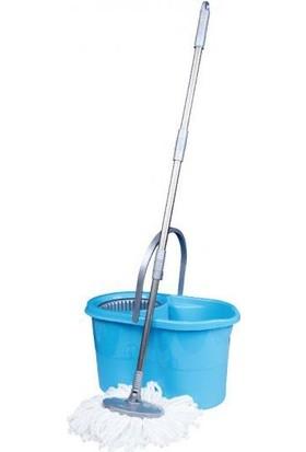 Zambak Mavi Döner Başlıklı Temizlik Seti ve Mop