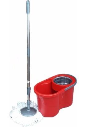 Zambak Kırmızı Döner Başlıklı Temizlik Seti ve Mop