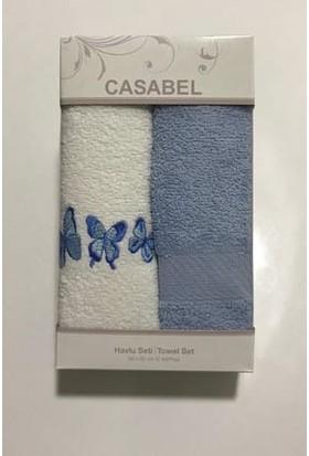 Casabel 2'li Kutulu Havlu Seti Mavi
