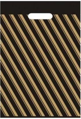 Bkr Takviyeli Çizgili Siyah Poşet 60 x 70 cm 50'li
