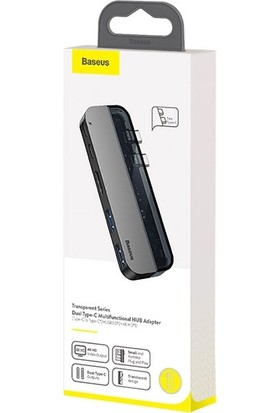 Baseus CAHUB-TS0G Transparent Series Dual Type-C Multifunctional HUB Adapter