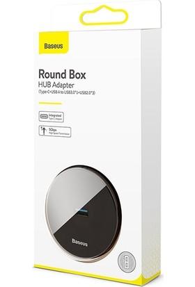 Baseus CAHUB-GA01 Round Box 4 in 1 Type-C + USB3.0*1 + USB2.0*3 HUB Adaptör 1 mt - Siyah