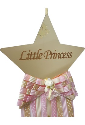 Baby Design Kişiye Özel Pleksi Yıldız Bebek Kapı Süsü Gold-Pembe
