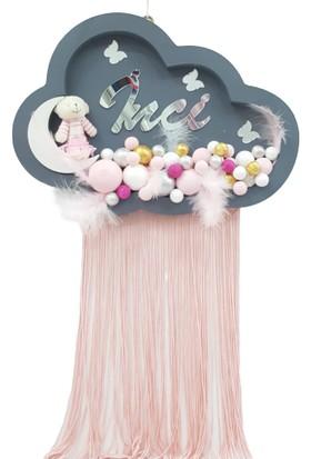 Baby Design Bebek Kapı Süsü Ayıcıklı Bulut Bubble Ahşap Pano Kapı Süsü Gri-Pembe