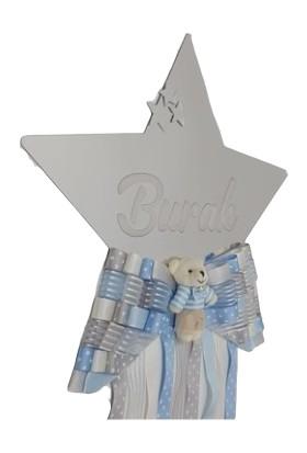 Baby Design Pleksi Kişiye Özel Yıldız Püsküllü Ayna Bebek Kapı Süsü Gümüş-Mavi