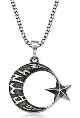 Armagano Gümüş Göktürkçe Türk Yazılı Ay Yıldız Erkek Kolye