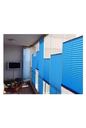 Erikmann Cam Balkon Perdesi Yapıştırmalı Plise Perde Bronz Profil Mavi Kumaş 45 x 178 cm