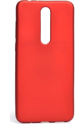 Case Street Nokia 3.1 Plus Kılıf Premier Silikon + Full Kapatan Fiber Nano Kırmızı