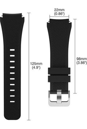 Case Street Huawei Watch Gt2 46 mm Kordon Silikon Çizgili Silikon Kançalı Siyah