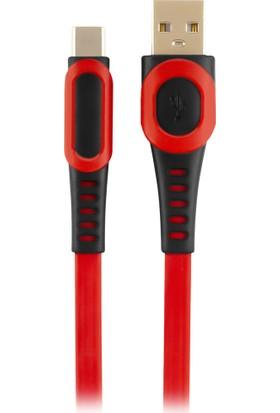 MF Product Jettpower 0025 Yassı 2.4A Type-C Hızlı Şarj Kablosu 1 m Kırmızı