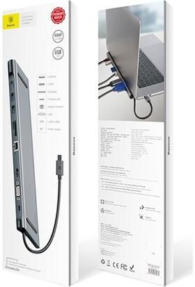 Baseus 10 In 1 Enjoyment Series Type-C Notebook Hub Adapter Gray (PD/HDMI/VGA/RJ45/SD/USB*3) Adaptör Çoklayıcı