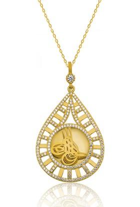 Armagano Gümüş Damla Tuğralı Altın Kaplama Kolye