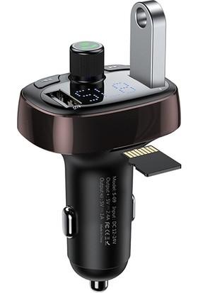 Baseus T Typed S-09 Bluetooth Fm Transmitter Çift Araç Şarj Aleti CALL-TM12
