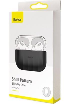Baseus Shell Pattern Silica Gel Apple Airpods Pro Kaymaz Silikon Kılıf WIAPPOD-BK01 - Siyah