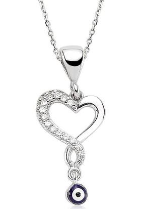 Armagano Gümüş Nazarlı Kalp Kolye