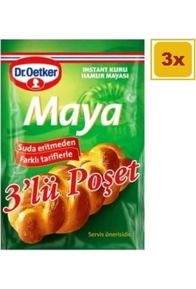 Dr. Oetker Instant Kuru Maya 3' Lü 10 gr x 3 Paket