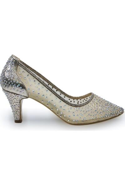 BB Shoes Sindy Abiye Düğün Ayakkabısı Dore Renk Kısa Model