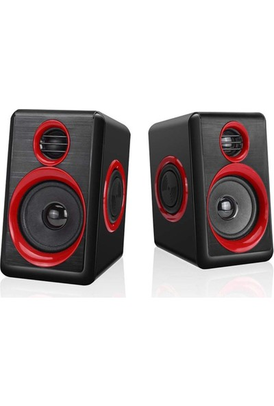 Havana FT-165 2.0 Speaker Extra Bass Hoparlör Ses Sistemi 1+1 - Kırmızı