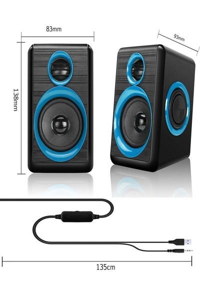 Havana FT-165 2.0 Speaker Extra Bass Hoparlör Ses Sistemi 1+1 - Mavi