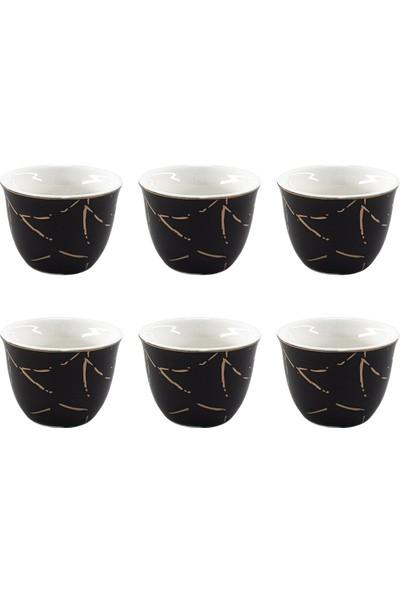 Kitchen World YFT-027 Porselen 6'lı Mırra Fincanı Siyah