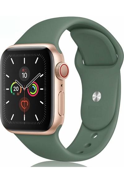 Omelo Apple Watch 38 mm Kordon Spor Kayışı Yumuşak Silikon Koyu Yeşil