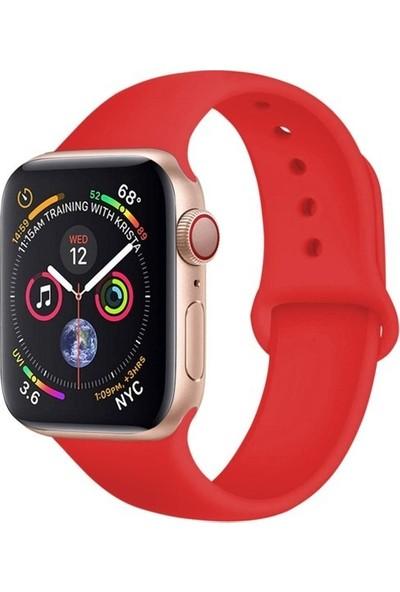 Omelo Apple Watch 40 mm Kordon Spor Kayışı Yumuşak Silikon Koyu Kırmızı