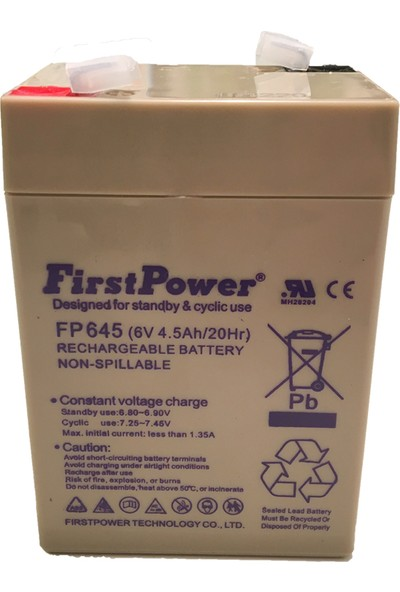First Power 6V 4.5AH Kuru Bakımsız Akü
