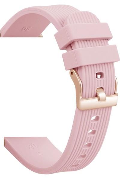 Schullz Samsung Galaxy Gear S2 Classic Sport Ticwatch Silikon Kordon Kayış MC0004 - Pembe