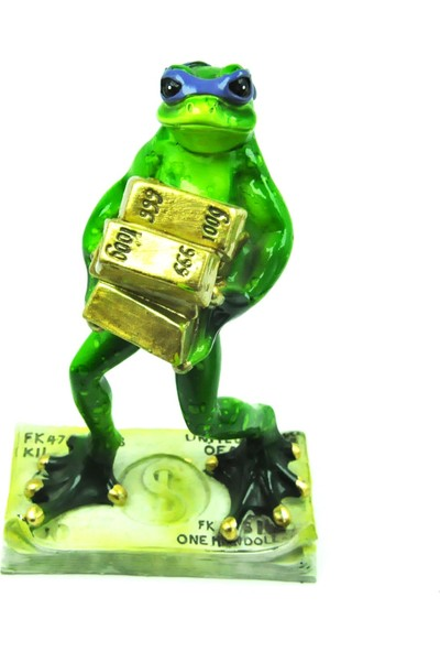 Pologift Polyester Dekoratif Altın Külçe Taşıyan Kurbağa Obje