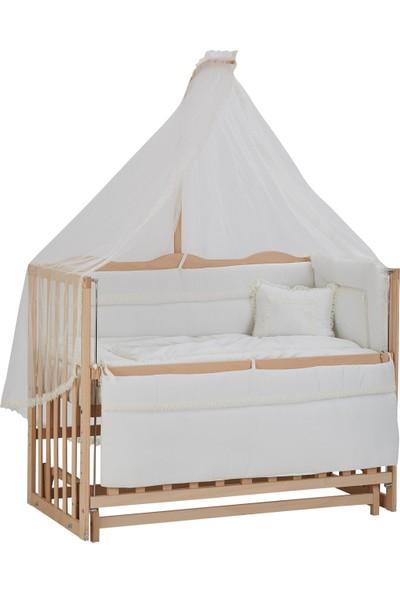 Babycom Anne Yanı Doğal Boyasız Ahşap Kademeli Beşik 70x130 + Uyku Seti