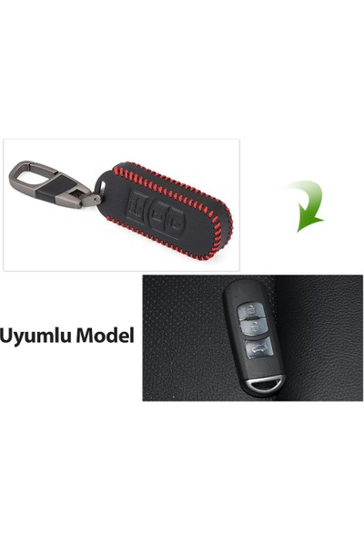 Alisveristime Mazda 2, 3, 6, Mx5, Cx3, Cx5, Cx7, Cx9 Deri Anahtar Kılıfı Lüx Model