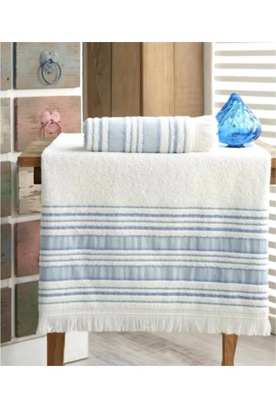 Louis Marie Banyo Havlu Takımı 70 x 140 cm ve 50 x 90 cm Mavi