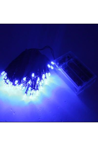 Süsle Bebek Parti 50 Ledli ve 5 m Animasyonlu Pilli LED Lamba Mavi Işık