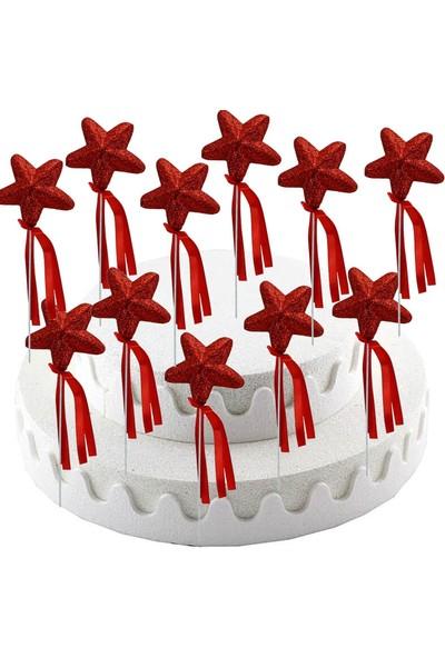 Süsle Bebek Parti Yıldız Çubuk Kırmızı 12'li