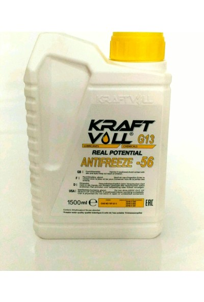Kraft Voll Konsantre G13 Renault Sarı Antifriz - 1,5 litre (16.09.2019 Üretim Tarihli)