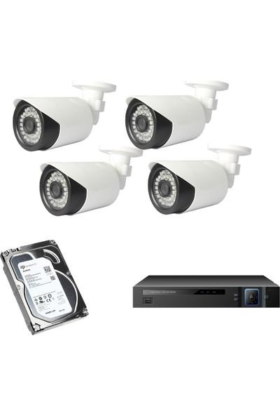 Enkatek Gece Görüşlü 4 Kameralı 2 Mp Full Hd 1080P Harekete Duyarlı Ahd Güvenlik Kamera Sistemi