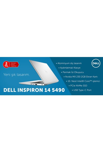 """Dell Inspiron 5490 Intel Core i5 10210U 8GB 256GB SSD MX230 Ubuntu 14"""" FHD Taşınabilir Bilgisayar S210F82N"""