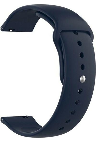 Gpack Huawei Watch GT2 46mm Kordon Mat Düz Renkli Silikon Lacivert