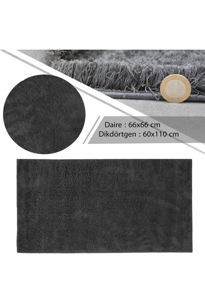 Flora Halı Tiara Plain Antrasit Shaggy 2'li Banyo Paspas Takımı (66x66 cm Daire + 60x110 cm)