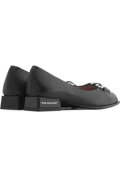 İlvi Adel Kadın Babet Ayakkabı Siyah Deri