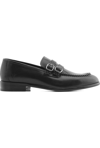 İlvi Carrie Erkek Makosen Ayakkabı Siyah Antik