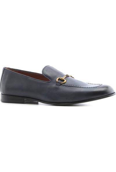 İlvi Drugi Erkek Makosen Ayakkabı Lacivert Deri