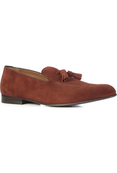 İlvi Evian Erkek Makosen Ayakkabı Kızıl Kahve Süet